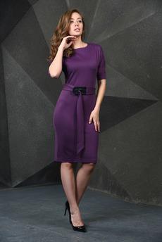 Фиолетовое платье с поясом Mondigo